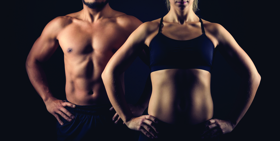 Perfectly shaped male and female upper body